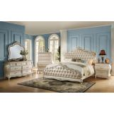Acme Chantelle Button Tufted Upholstered Bedroom Set in Pearl White 23545