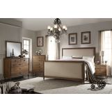 Acme 4PC Inverness High Footboard Panel Bedroom Set in Reclaimed Oak