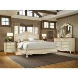American Woodcrafters Chateau Collection Sleigh Bedroom Set in White Antique 3501-SetB