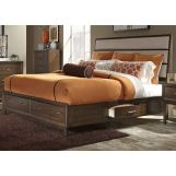 Liberty Hudson Square Queen Two Sided Storage Bed in Linen/Espresso
