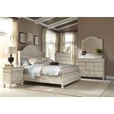 American Woodcrafters Newport 4-Piece Panel Bedroom Set w/ Storage Footboard in Antique White