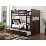 Acme Furniture Hector Twin over Twin Bunk Bed with Trundle in Antique Charcoal Brown