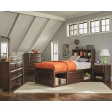 Coaster Furniture Greenough 4-Piece Storage Bedroom Set in Maple Oak
