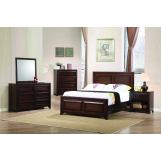 Coaster Furniture Greenough 4-Piece Panel Bedroom Set in Maple Oak