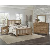 Vaughan-Bassett American Maple 4pc Slat Bedroom Set in Natural Maple