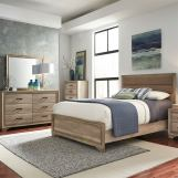 Liberty 4-Piece Sun Valley Upholstered Panel Bedroom Set in Sandstone