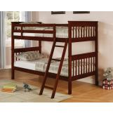 Coaster Parker Youth 4pc Slat Bunk Bedroom Set in Cappuccino