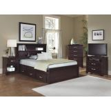 Carolina Furniture Carolina Signature Bookcase w/ Underbed Storage Bedroom Set in Espresso