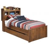 Barchan Twin Bookcase Panel Bed w/Underbed Trundle in Medium Brown