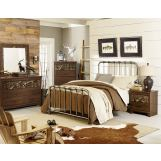 Standard Furniture Solitude/Tristen 5-Piece Metal Bedroom Set in Rustic Brown Cherry