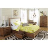 Cresent Fine Furniture Waverly Upholstered Platform Bedroom Set w/ Storage - Double Sided in Driftwood