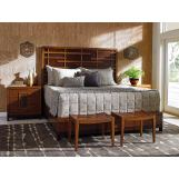 Tommy Bahama Home Island Fusion 4-Piece Shanghai Panel Bedroom Set in Dark Walnut