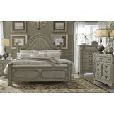 Liberty Funiture Grand Estates 4pc Poster Bedroom Set in Gray Taupe/Antique Brown EST SHIP TIME IS 4 WEEKS