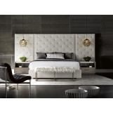 Universal Furniture Modern Brando 4-Piece Bedroom Set w/ Wall Panels in Quartz