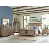 Klaussner Reflections 4pc Sleigh Bedroom Set in Light Silver Gray