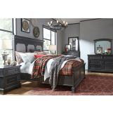 Legacy Classic Townsend 4pc Upholstered Panel Bedroom Set in Dark Sepia