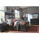 Legacy Classic Townsend 4pc Upholstered Panel Storage Bedroom Set in Dark Sepia