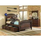 Samuel Lawrence Furniture Expedition 4-Piece Twin Poster Bedroom Set with Trundle Storage Unit in Cherry