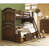 Samuel Lawrence Furniture Expedition 4-Piece Bunk Bedroom Set with Underbed Storage in Cherry