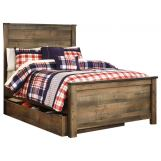 Trinell Full Panel with Underbed Storage Bed in Warm Rustic Oak B446S-FULL