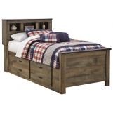 Trinell Twin Bookcase with Underbed Storage in Warm Rustic Oak B446-63TWIN