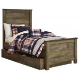 Trinell Twin Panel with Underbed Storage Bed in Warm Rustic Oak B446S-TWIN