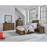 Standard Furniture Nelson Youth 4-Piece Sleigh Storage Bedroom Set in Rustic Pine