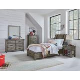 Standard Furniture Nelson Youth 4-Piece Sleigh Storage Bedroom Set in Grey