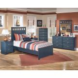 Leo 4-Piece Panel Bedroom Set in Blue