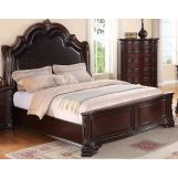 Crown Mark Furniture Sheffield Upholstered Queen Bed in Dark Cherry