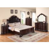 Crown Mark Furniture Sheffield Upholstered Bedroom Set in Dark Cherry