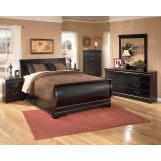 Huey Vineyard 4-Piece Sleigh Bedroom Set in Black
