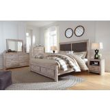 Williabry 4pc Upholstered Panel Storage Bedroom Set in Weathered Beige