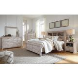 Williabry 4pc Bookcase Bedroom Set in Weathered Beige