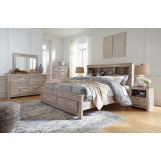 Williabry 4pc Bookcase Storage Bedroom Set in Weathered Beige