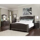 Vachel 4pc Poster Bedroom Set in Dark Brown
