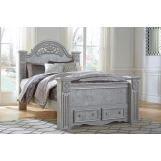 Zolena Queen Poster Storage Bed in Champagne
