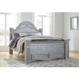 Zolena King Poster Storage Bed in Champagne
