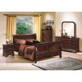Crown Mark Furniture Louis Philip Bedroom Set in Dark Cherry