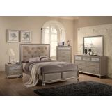 Crown Mark Furniture Lila 4-Piece Panel Bedroom Set in Champagne Faux