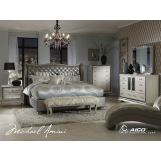 AICO Hollywood Swank 4pc Upholstered Platform Bedroom Set in Metallic Graphite