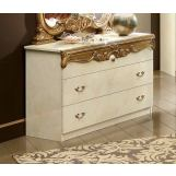 ESF Furniture Barocco Single Dresser in Ivory w/ Gold