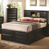 Coaster Briana Cal King Storage Bed with Bookshelf in Black 202701KW