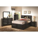 Coaster Briana Storage Bedroom Set with Bookshelf in Black