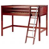 Maxtrix Bare Bone Twin Size Mid Loft (Low/Low) Panel Bed with Angle Ladder in Chestnut CHAPCP