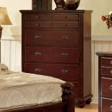 Furniture of America Gabrielle II 5 Drawer Chest in Cherry CM7083C
