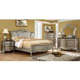 Furniture of America Johara 4pc Sleigh Bedroom Set in Gold