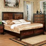 Furniture of America Patra California King Panel Bed in Acacia and Walnut CM7152CK