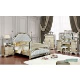 Furniture of America Loraine 4pc Poster Bedroom Set in Champagne