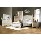 Furniture of America Loraine 4pc Panel Bedroom Set in Champagne